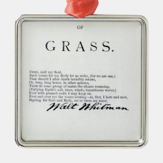 Frontispiece to 'Leaves of Grass' Silver-Colored Square Decoration