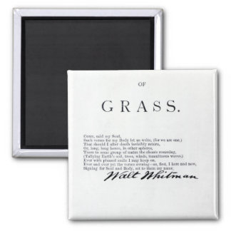 Frontispiece to 'Leaves of Grass' Square Magnet