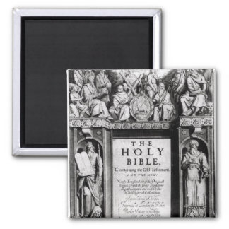 Frontispiece to 'The Holy Bible' Square Magnet