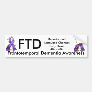 Frontotemporal Dementia Purple Ribbon Bump. Sticke Car Bumper Sticker