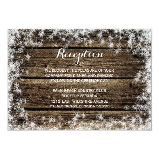 Frost Bite Barn Wood Winter Wedding Reception 9 Cm X 13 Cm Invitation Card
