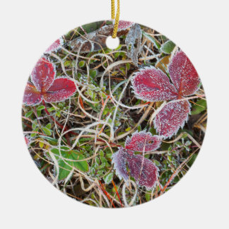 Frost covered leaves, Canada Round Ceramic Decoration