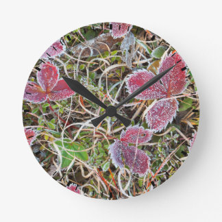 Frost covered leaves, Canada Round Clock