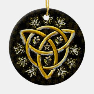 Frost Golden Tri-Quatra Holly Oak Pentagram Black Round Ceramic Decoration