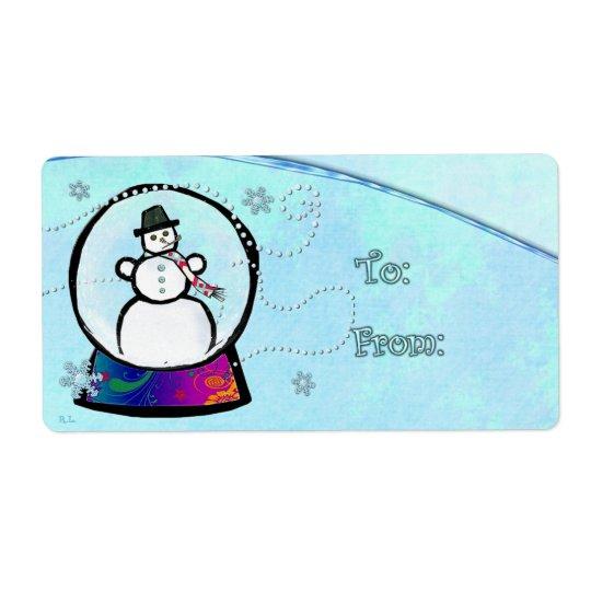 Frost Man Snow Globe Folk Art GIFT Shipping Label