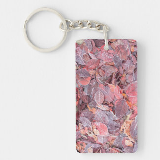 Frost on fallen leaves, Fall colors, Mill Creek Double-Sided Rectangular Acrylic Key Ring