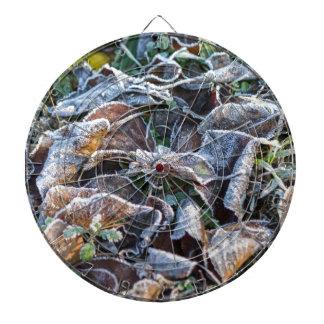 frost on leaves in winter dartboard