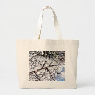 Frost On Tree Twig Jumbo Tote Bag