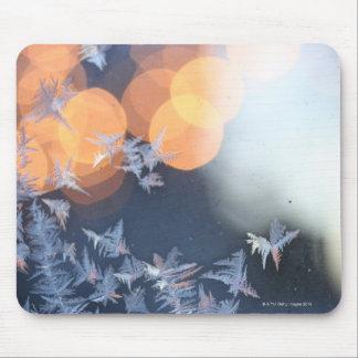 Frost patterns on window with bokeh twinkle mousepads
