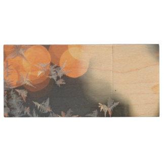 Frost patterns on window with bokeh twinkle wood USB flash drive
