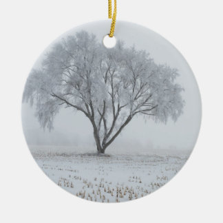 Frost Upon a Lonely Tree Round Ceramic Decoration