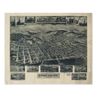Frostburg Maryland 1905 Antique Panoramic Map Poster