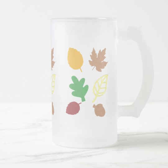 Frosted 16 oz Glass Mug with Autumn Leaves