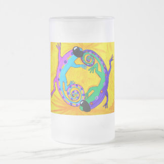 Frosted Beer Stien - Groovy Tropical Lizards Frosted Glass Mug