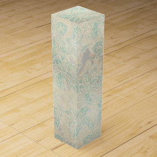 Frosted Blue Poinsettia on Silver - Wine Gift Box