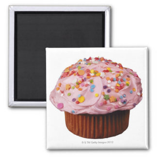Frosted cupcake with sprinkles square magnet