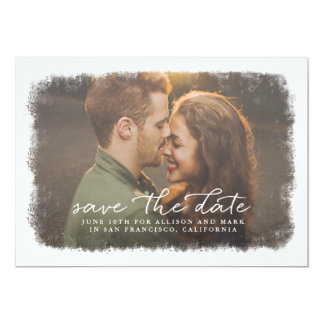 Frosted Edges Save The Date 13 Cm X 18 Cm Invitation Card