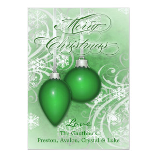 Frosted Flourishes Pine Green Winter Holiday Card 13 Cm X 18 Cm Invitation Card