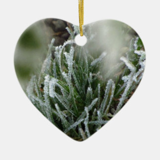 Frosted foliage ceramic heart decoration