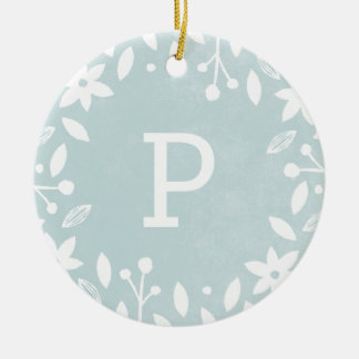 Frosted Foliage Ceramic Ornament - Aqua