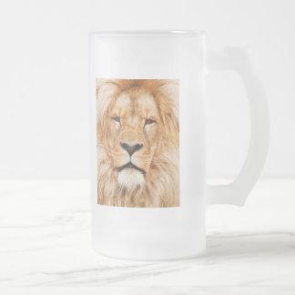 Frosted Glass Beer Mug Lion