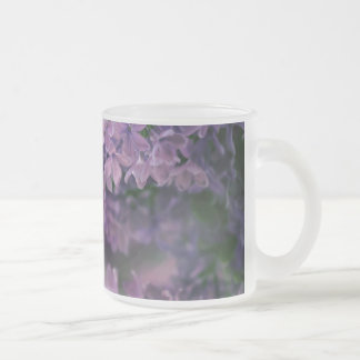 Frosted Glass Mug Flower Lilac