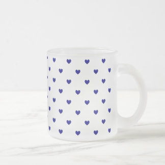 Frosted Glass Mug Navy Blue Hearts Patterned