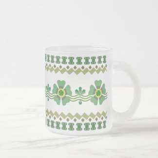Frosted Glass Mug - Retro Green Flower