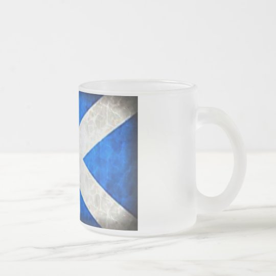 Frosted Glass Mug Scotland Flag