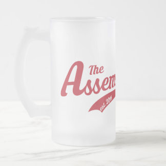 Frosted Glass Mug with Assembly Call text logo