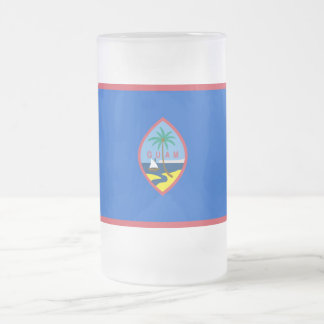 Frosted Glass Mug with flag of Guam, USA