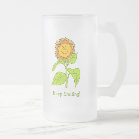 Frosted Glass Mug with Smiling Sunflower Design