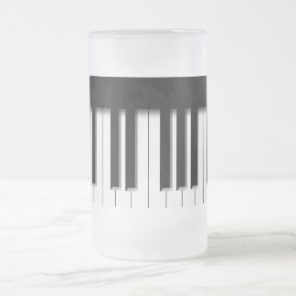 Frosted Glass - Piano Keys black white Frosted Glass Mug