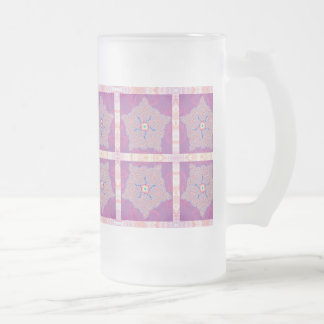 Frosted Glass - Purple Star Fractal Pattern Frosted Glass Beer Mug