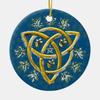 Frosted Gold Tri-Quatra Holly Oak Pentagram Blue Round Ceramic Decoration