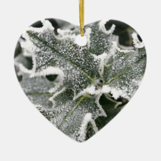 Frosted Holly Leaves Ceramic Heart Decoration