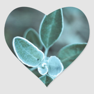 Frosted Leaf Heart Sticker