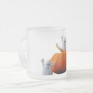 Frosted, Mug, image, pumkin, ghosts Frosted Glass Coffee Mug