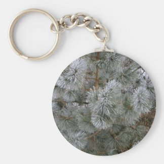 Frosted Pine On A Winter's Morining Basic Round Button Key Ring