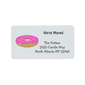 Frosted Pink Doughnut New Address Address Label