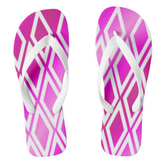 Frosted Pink White Diamond Pattern Flip Flops