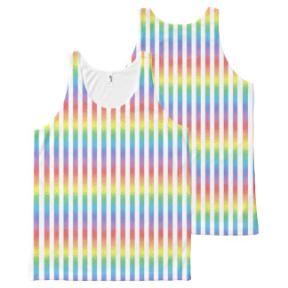Frosted Rainbow With White Vertical Stripes All-Over Print Tank Top