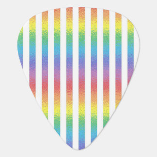 Frosted Rainbow With White Vertical Stripes Guitar Pick