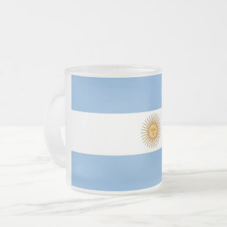 Frosted small glass mug with flag of Argentina