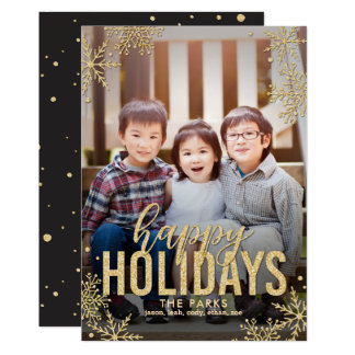 Frosted Snowflakes Holiday Photo Card Gold
