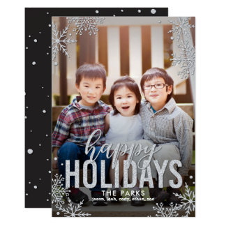 Frosted Snowflakes Holiday Photo Card Silver