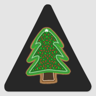 Frosted tree shaped sugar cookie with sprinkles triangle sticker