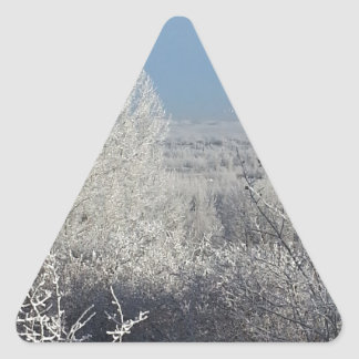 Frosted Trees 3 Triangle Sticker