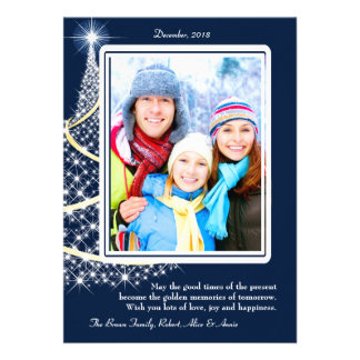 Frosted White and Gold Photo Holiday Card Announcement