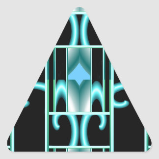Frosted Window on Blue & Black Triangle Sticker